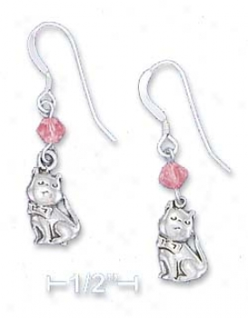 Sterling Silvery Antiqued Cat Earrings Pink Swarovski Xtal