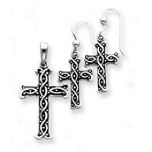 Sterling Silver Antiqued Cross Pendant And Earrings Set