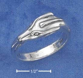 Sterling Silver Antiqued Dragon Face Ring