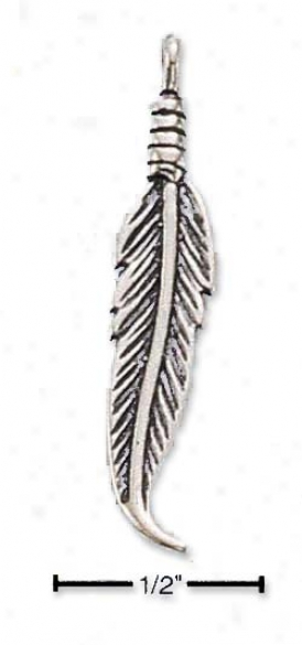 Sterling Silver Antiqued Feather Attraction