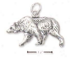 Sterling Silver Antiqued Flat Grizzly Bear Charm