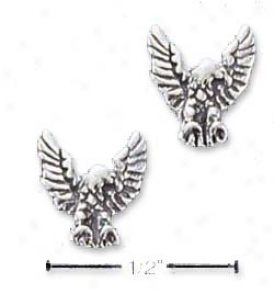 Sterling Silver Antiqued Mini Eagle Post Earrings