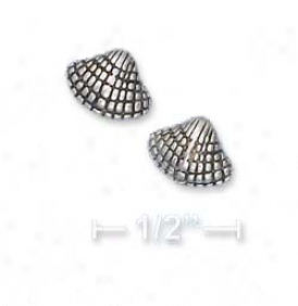 Sterling Silver Antiqued Sea Exfoliate Post Earringq
