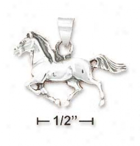 Sterling Silver Antiqued Small Running HorseP endant