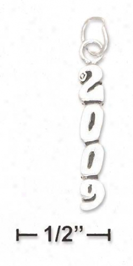 Sterling Silver Antiqued Vertical 2009 Charm