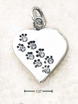 Streling Soft and clear  April Cz Paw Heart Pendant (engravable)
