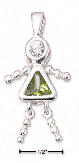 Sterling Silver August Deck with ~s Girl Charm With S~ Green Cz