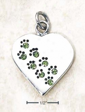 Sterling Silver August Cz Paw Heart Pendnat (engravable)
