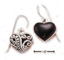 Sterling Silver Black Onyx Heart Earrings Scroll Forward Back