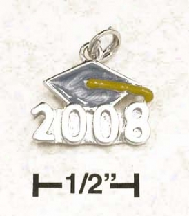 Sterling Silver Blue Gold Enamel 2008 Graduation Cap Charm