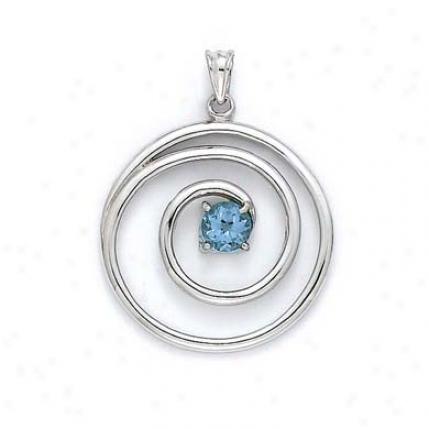 Sterling Silver Blue Topaz Swirl Pendant