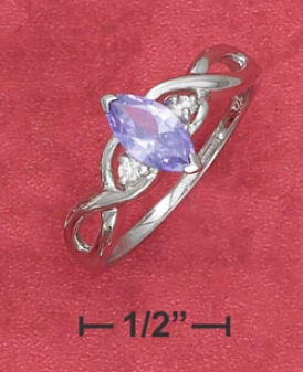 Sterling Silver Braided Shank Ring With Purple Cz Cz Accents