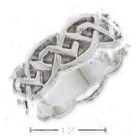 Sterling Silver Celtic Fancy Designer Unisex Band Ring