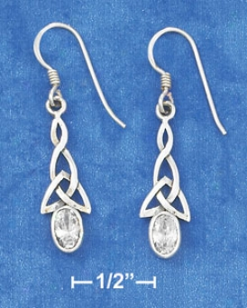 Sterling Silver Celtic French Wire With Perspicuous Cz Earrungs