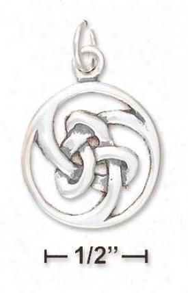 Sterling Silver Celtic Knot Swirl Pendant (appr. 3/4 Inch)