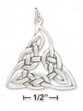Sterling Silver Celtic Knotted Triangle Pendant - 1 Inch