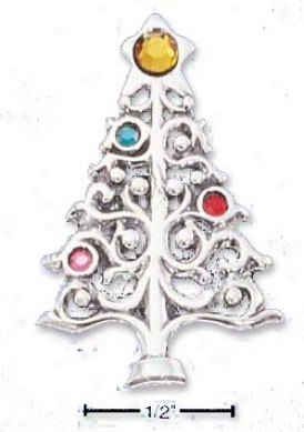 Sterling Silver Christmas Tree Crystal Ornaments Pin/pendant
