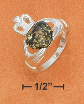 Sterling Silver Claddaugh With Green Amber Hea5t Center Ring