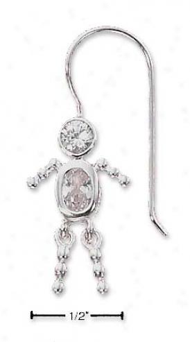 Sterling Silver Clear Cz Boy Brat Wire Earrings
