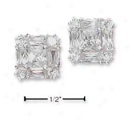 Sterling Silver Clear Cz Post Earrings Baguette Cz Border