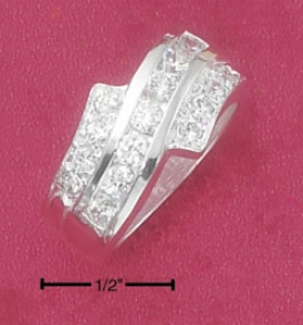Sterling Silver Clear Cz Wave Band Ring With Cz Bypass