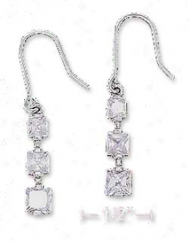 Sterling Silver Clear Princess Cut Cz Journey Style Earrings