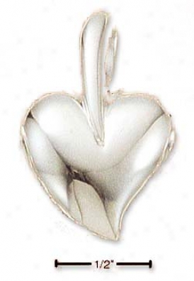 Sterling Silver Contemporary Heart Open Back Pendant Charm