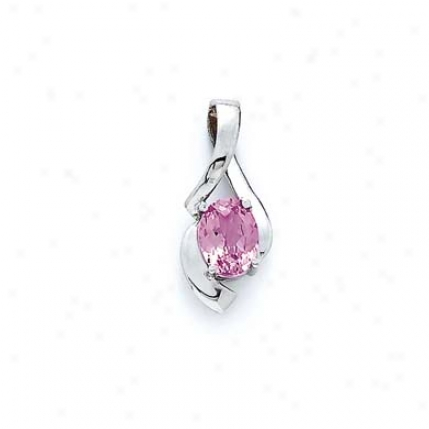 Sterling Silver Created Pink Sapphire Pendant