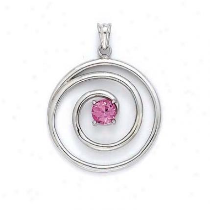 Sterling Gentle Created Pink Sapphire Swirl Pendant