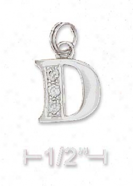 Sterling Silver Cz Alphabet Charm Letter D - 3/8 Inch