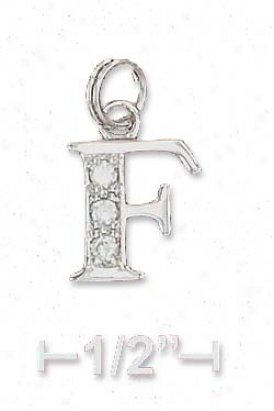 Sterling Silver Cz Alphabet Charm Letter F - 3/8 Inch