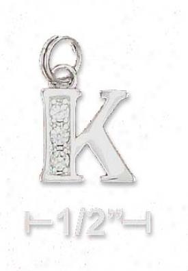Sterling Silver Cz Alphabet Charm Letter K - 3/8 Inch