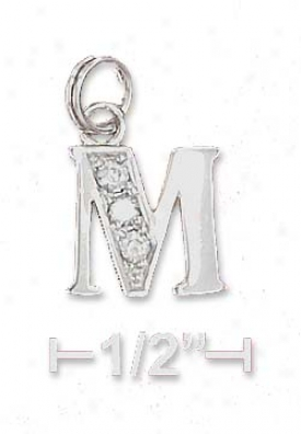 Sterling Silver Cz Alphabet Charm Letter M - 3/8 Inch