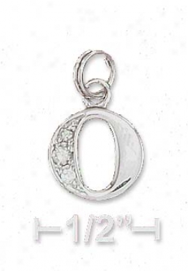 Sterling Silver Cz Alphabet Charm Letter O - 3/8 Inch