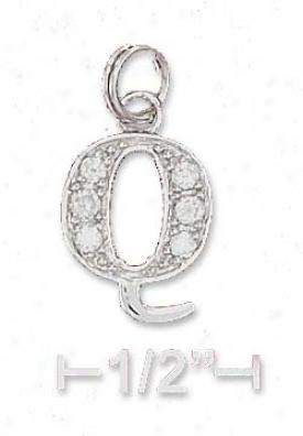 Genuine Silver Cz Alphabet Charm Letter Q - 3/8 Inch