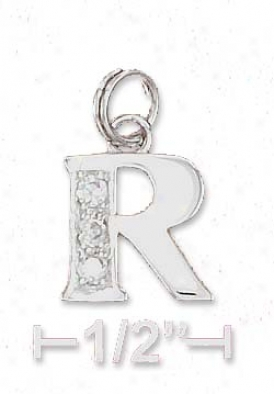 Sterling Silver Cz Alphabet Charm Letter R - 3/8 Inch