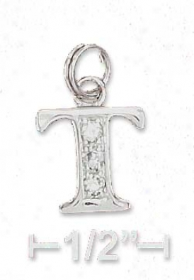 Sterling Silver Cz Alphabet Spell Letter T - 3/8 Inch