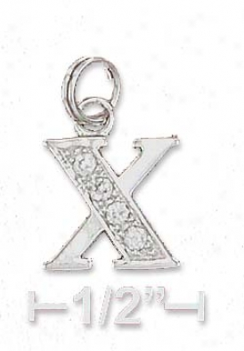 Sterling Silver Cz Alphabet Charm Letter X - 3/8 Inch