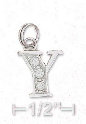 Sterling Silver Cz The letters  Charm Letter Y - 3/8 Inch