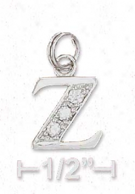 Sterling Silver Cz Alphabet Attraction Letter Z - 3/8 Inch