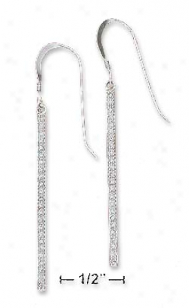 Sterling Silver Cz Bar Swing French Wire Earrings