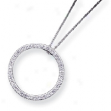 Sterling Silver Cz Circle Pendant With Connected series - 16 Inch