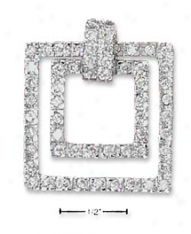 Sterling Silver Cz Floating Sqquares Pendant