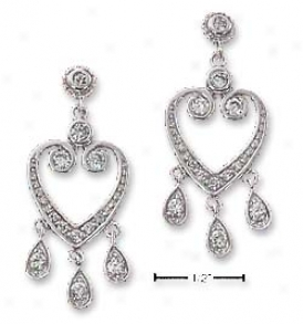 Sterling Silver Cz Heart Chandelier Post Earrings