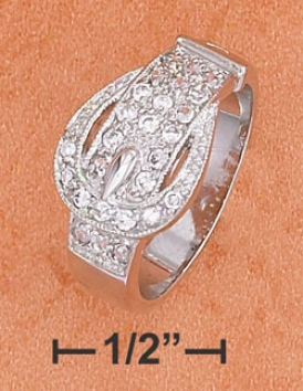 Sterling Silver Cz Ring Depicting A Belt And Buckle