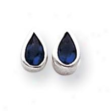 tSerling Silver Dark Blue Cz Teardrop Earrings