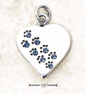 Sterling Silver December Cz Paw Heart Ear-ring (engravable)
