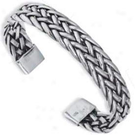 Sterling Silver Designer Foxtail Cuff Bangle - 7.5 Inch