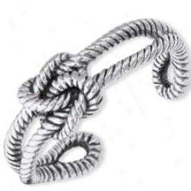 Sterlung Silver Designer Rope Cuff Bangle - 7.5 Inch