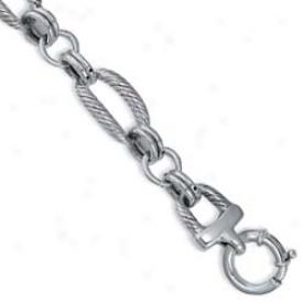 Sterling Silver Designer Rope Link Bracelet - 8 Inch